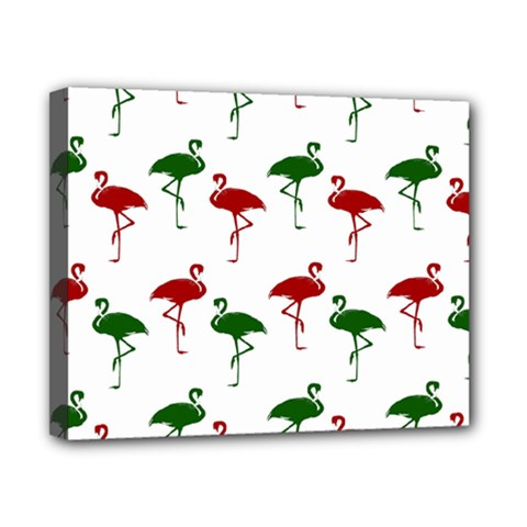 Flamingos Christmas Pattern Red Green Canvas 10  X 8  (stretched) by CrypticFragmentsColors
