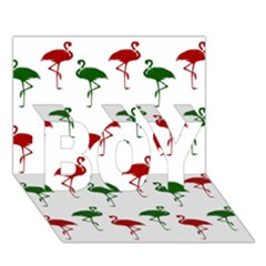 Flamingos Christmas Pattern Red Green Boy 3d Greeting Card (7x5) by CrypticFragmentsColors