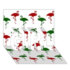 Flamingos Christmas Pattern Red Green Girl 3d Greeting Card (7x5) by CrypticFragmentsColors