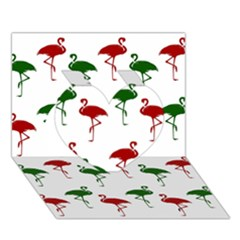 Flamingos Christmas Pattern Red Green Heart 3d Greeting Card (7x5) by CrypticFragmentsColors