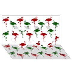Flamingos Christmas Pattern Red Green Twin Hearts 3d Greeting Card (8x4) by CrypticFragmentsColors