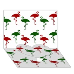 Flamingos Christmas Pattern Red Green Heart Bottom 3d Greeting Card (7x5) by CrypticFragmentsColors