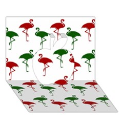 Flamingos Christmas Pattern Red Green Apple 3d Greeting Card (7x5) by CrypticFragmentsColors
