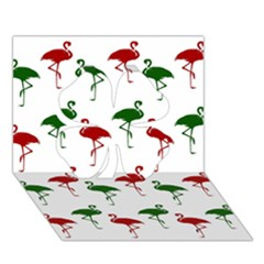 Flamingos Christmas Pattern Red Green Clover 3d Greeting Card (7x5) by CrypticFragmentsColors