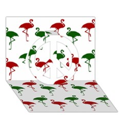 Flamingos Christmas Pattern Red Green Peace Sign 3d Greeting Card (7x5) by CrypticFragmentsColors