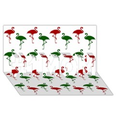 Flamingos Christmas Pattern Red Green #1 Mom 3d Greeting Cards (8x4) by CrypticFragmentsColors
