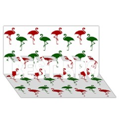 Flamingos Christmas Pattern Red Green Best Bro 3d Greeting Card (8x4) by CrypticFragmentsColors
