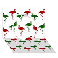 Flamingos Christmas Pattern Red Green Circle 3d Greeting Card (7x5) by CrypticFragmentsColors