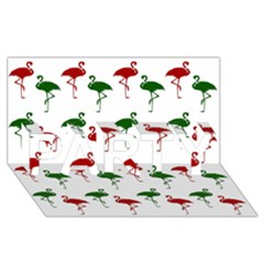 Flamingos Christmas Pattern Red Green Party 3d Greeting Card (8x4) by CrypticFragmentsColors