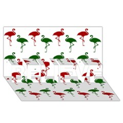 Flamingos Christmas Pattern Red Green Believe 3d Greeting Card (8x4) by CrypticFragmentsColors