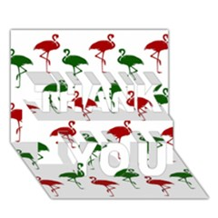 Flamingos Christmas Pattern Red Green Thank You 3d Greeting Card (7x5) by CrypticFragmentsColors
