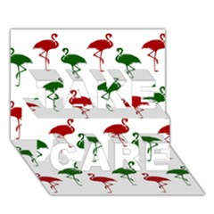 Flamingos Christmas Pattern Red Green Take Care 3d Greeting Card (7x5) by CrypticFragmentsColors