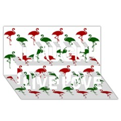Flamingos Christmas Pattern Red Green Laugh Live Love 3d Greeting Card (8x4) by CrypticFragmentsColors