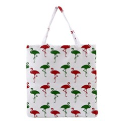 Flamingos Christmas Pattern Red Green Grocery Tote Bag by CrypticFragmentsColors