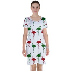 Flamingos Christmas Pattern Red Green Short Sleeve Nightdress by CrypticFragmentsColors