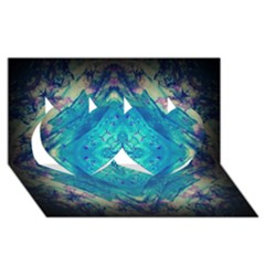 Boho Hippie Tie Dye Retro Seventies Blue Violet Twin Hearts 3d Greeting Card (8x4)