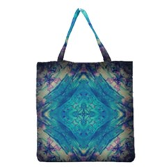 Boho Hippie Tie Dye Retro Seventies Blue Violet Grocery Tote Bag by CrypticFragmentsDesign