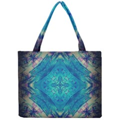 Boho Hippie Tie Dye Retro Seventies Blue Violet Mini Tote Bag by CrypticFragmentsDesign