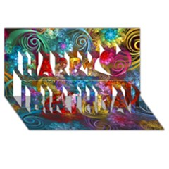 Spirals And Curlicues Happy Birthday 3d Greeting Card (8x4)