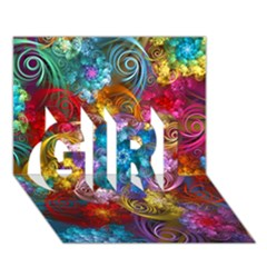 Spirals And Curlicues Girl 3d Greeting Card (7x5)  by WolfepawFractals