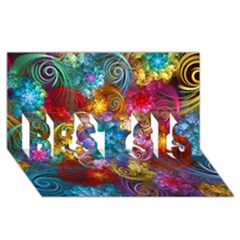 Spirals And Curlicues Best Sis 3d Greeting Card (8x4)  by WolfepawFractals