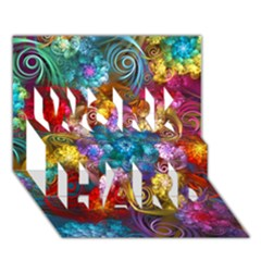 Spirals And Curlicues Work Hard 3d Greeting Card (7x5)  by WolfepawFractals