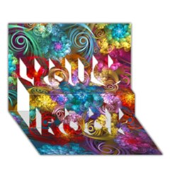 Spirals And Curlicues You Rock 3d Greeting Card (7x5)  by WolfepawFractals