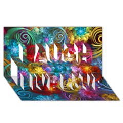 Spirals And Curlicues Laugh Live Love 3d Greeting Card (8x4)