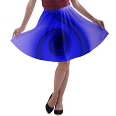 Blue Spiral Note A-line Skater Skirt by CrypticFragmentsDesign