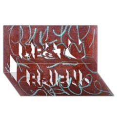 Urban Graffiti Rust Grunge Texture Background Best Friends 3d Greeting Card (8x4)  by CrypticFragmentsDesign