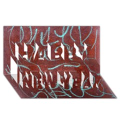 Urban Graffiti Rust Grunge Texture Background Happy New Year 3d Greeting Card (8x4)  by CrypticFragmentsDesign
