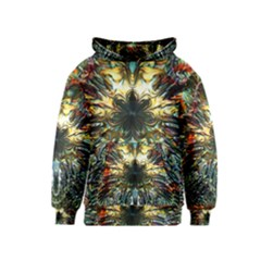 Metallic Abstract Flower Copper Patina Kids  Pullover Hoodie by CrypticFragmentsDesign