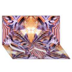 Fire Goddess Abstract Modern Digital Art  Twin Heart Bottom 3d Greeting Card (8x4)  by CrypticFragmentsDesign