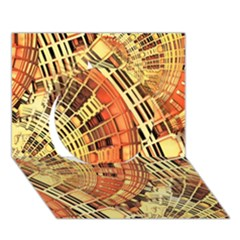 Semi Circles Abstract Geometric Modern Art Orange Circle 3d Greeting Card (7x5)  by CrypticFragmentsDesign