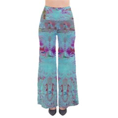 Retro Hippie Abstract Floral Blue Violet Pants by CrypticFragmentsDesign