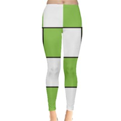 Black White Green Modern Square Color Block Pattern Leggings  by CircusValleyMall