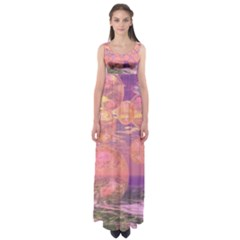 Glorious Skies, Abstract Pink And Yellow Dream Empire Waist Maxi Dress by DianeClancy