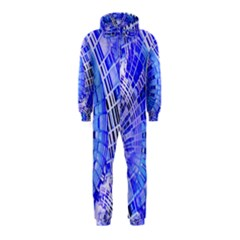 Semi Circles Abstract Geometric Modern Art Blue  Hooded Jumpsuit (Kids) by CrypticFragmentsDesign
