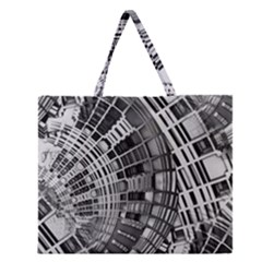 Semi Circles Abstract Geometric Modern Art Zipper Large Tote Bag