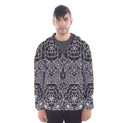 Mariager   Bold Flower Design   Black And White Hooded Wind Breaker (men) by Zandiepants