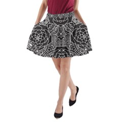 Mariager - Bold Flower Design - Black And White A-Line Pocket Skirt by Zandiepants