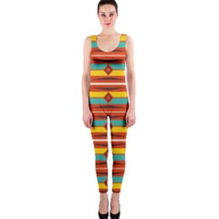 Shapes In Retro Colors Pattern                        Onepiece Catsuit by LalyLauraFLM
