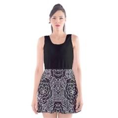 Mariager - Bold Flower Design - Black And White Scoop Neck Skater Dress