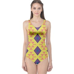 Tribal Shapes And Rhombus Pattern                        Women s One Piece Swimsuit by LalyLauraFLM