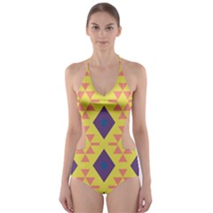 Tribal Shapes And Rhombus Pattern                        Cut Out One Piece Swimsuit by LalyLauraFLM