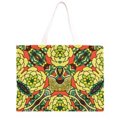 Petals, Retro Yellow, Bold Flower Design Zipper Large Tote Bag by Zandiepants