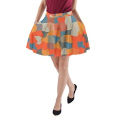Retro Colors Distorted Shapes                           A Line Pocket Skirt by LalyLauraFLM