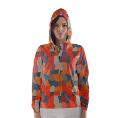 Retro Colors Distorted Shapes                           Hooded Wind Breaker (women) by LalyLauraFLM