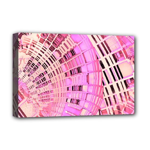 Pretty Pink Circles Curves Pattern Deluxe Canvas 18  X 12  (stretched) by CrypticFragmentsDesign