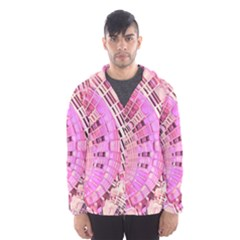 Pretty Pink Circles Curves Pattern Hooded Wind Breaker (men) by CrypticFragmentsDesign